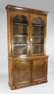 Burr walnut bookcase