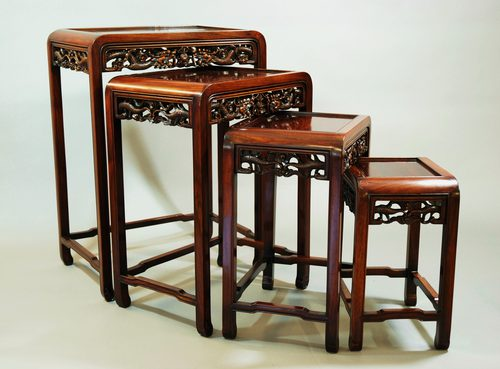 Chinese hardwood quartetto nest of tables antiques atlas for Antique chinese tables for sale