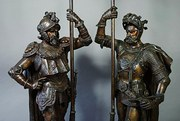 Pair of French speltre warrior