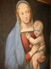 Madonna  Child Watercolour Paintings19th century watercolous of Madonna Del Granduca after Raphael Religeous Art