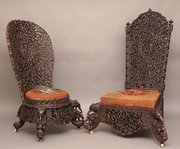 Pair carved chairs