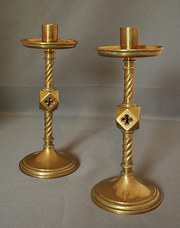 A Pair of Gothic Revival Brass
