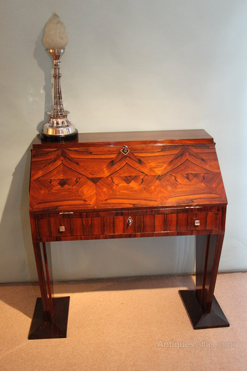Art deco rosewood bureau antiques atlas for Deco bureau