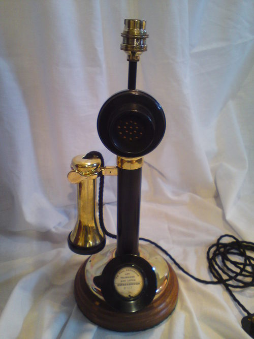 Unique table lamp converted from a early 20 th century candlestick