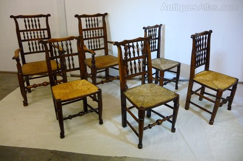 6 Liverpool ash and elm earback chairs c1830