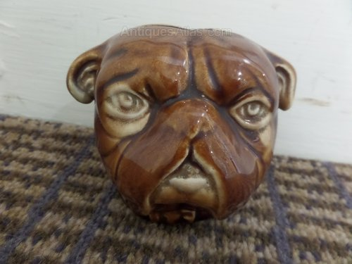9thc Stoneware pug bulldog money box c1860