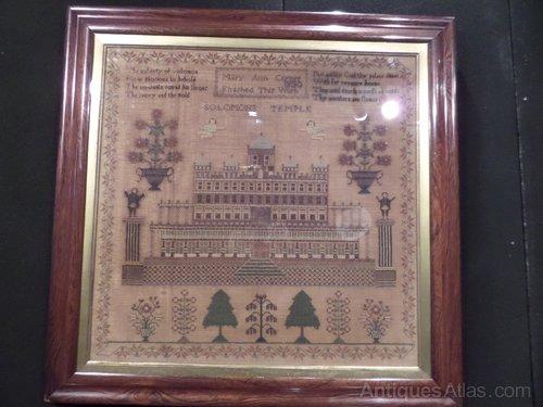 ANTIQUE Sampler 1830 Solomons Temple