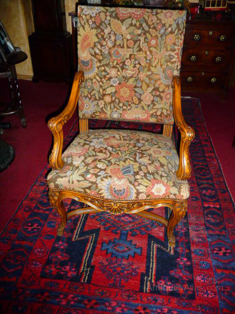 Antique Walnut French Armchair c1900