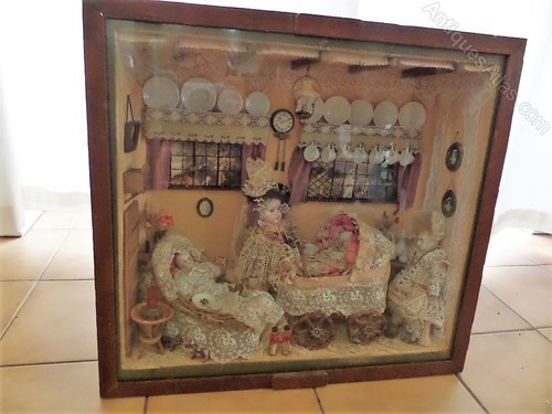 Antique dolls house diarama c1880 unique