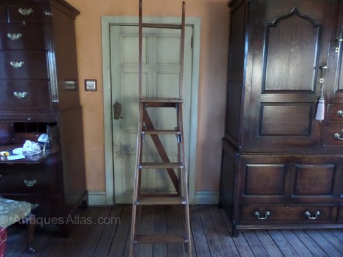 Antique oak  pine library ladders C1910 O  H198cms