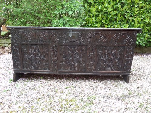 Antique rare 17thc large carved oak coffer