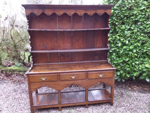 Antique small oak dresser and rack c1800