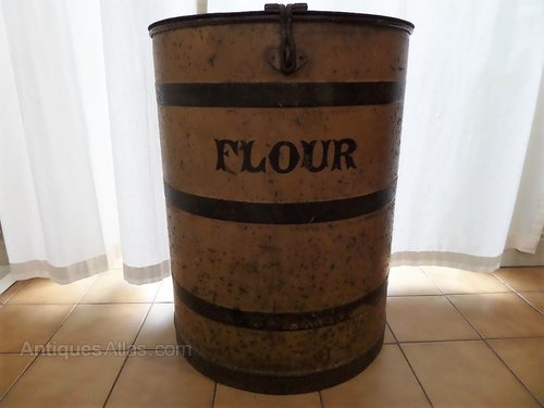 "Antique toleware shops flour bin c1860 26""h"