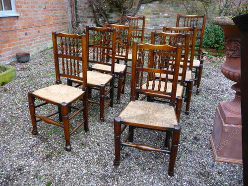 Close set of 8 19thc Ash+Elm spindleback chairs - Mike Melody Antiques - Antique Furniture