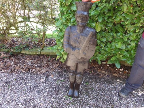 "Large wooden carving of soldier 44""h c1880"