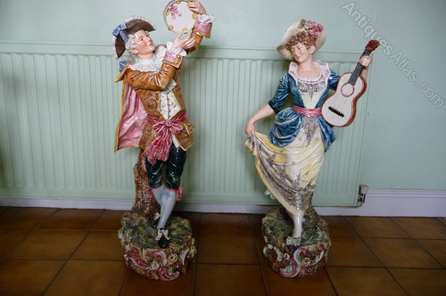 Massive Pr of Majolica Musical figures c1890