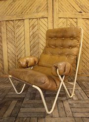 1950s Leather  Metal Armchair