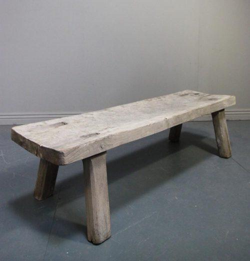 Bleached Antique Oak Pig Bench Coffee Table - Antiques Atlas