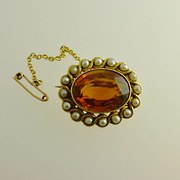 A Lovely Citrine Brooch 14ct