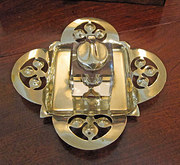 Art Nouveau Brass Inkwell On S