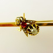 eDwardian Fly Brooch Ruby Diam