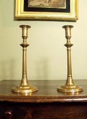 18th C Brass Candlesticks