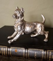 19th C Silver Model of a Dog