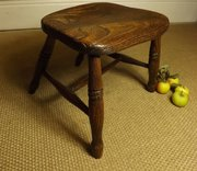 Early 19th C Elm Stool