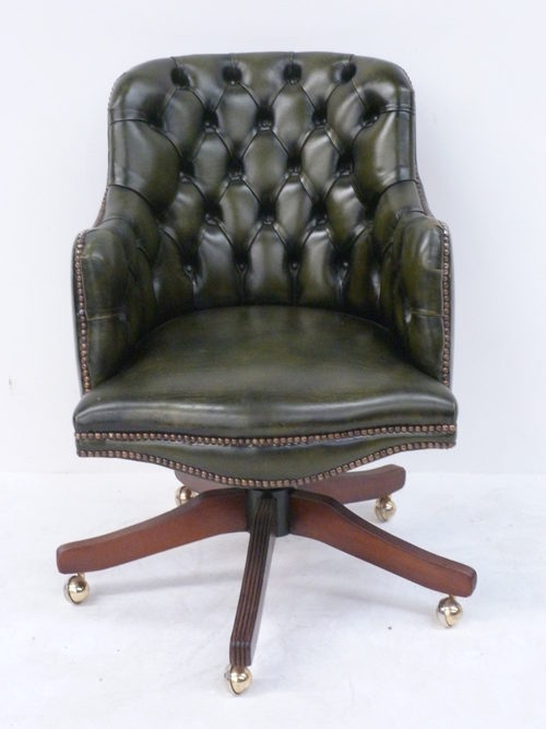 Antique Chesterfield Desk Office Captains Swivel Chair