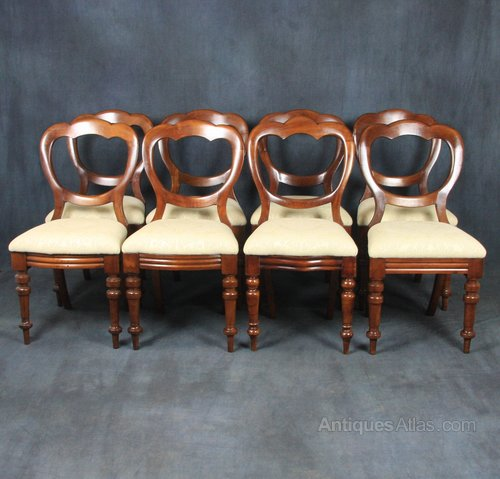 Set of 8 Victorian Crown Back Dining Chairs