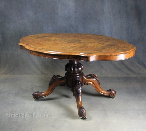 Victorian Burr Walnut Breakfast / Loo Table