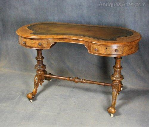 Victorian Burr Walnut Kidney Shaped Writing Table