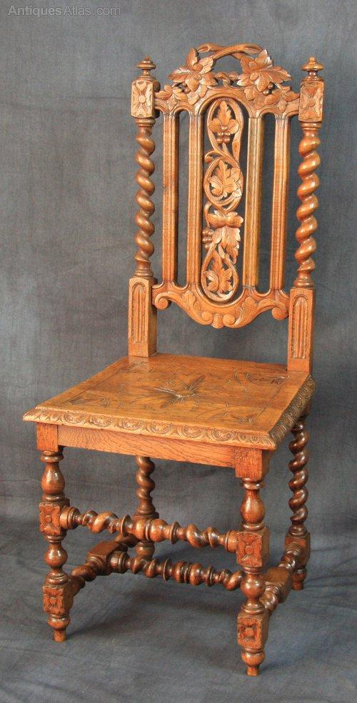 Victorian Oak Carolean Hall Chair