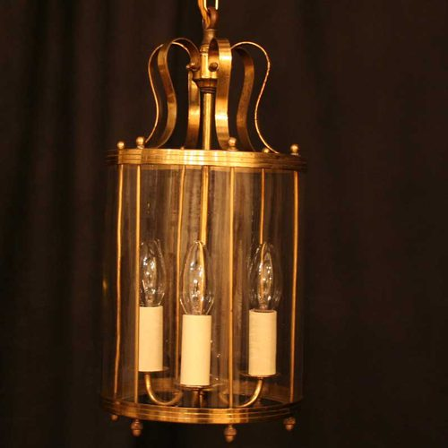 French Gilded Triple Light Hall Lantern