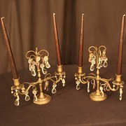 French Pair Of Brass Twin Ligh
