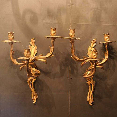 Antiques Atlas French Pair Of Gilded Triple Light Wall