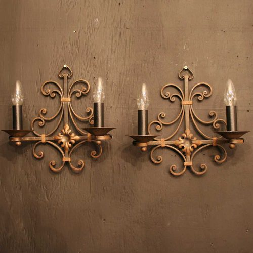 Antiques Atlas - French Pair Of Wrought Iron Antique Wall Lights