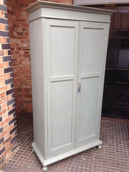 Edwardian Linen Cupboard In Solid Oak Standing On Small Bun Feet The