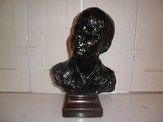 Bronze signed bust of boy