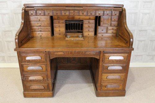 Edwardian Oak Directors Roll Top Desk Antiques Atlas