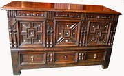 oak moulded mule chest circa 1