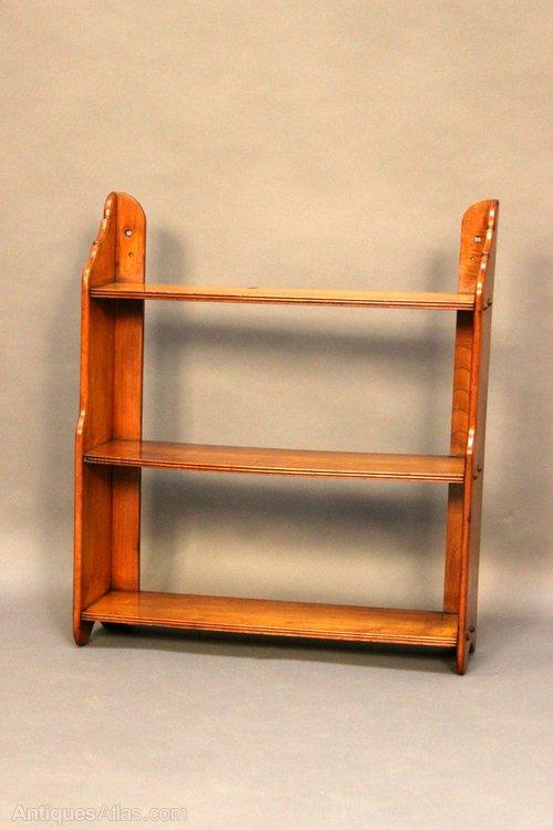 A mahogany hanging 3 shelf bookcase antiques atlas for Free hanging bookshelves