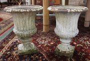 Pair of 19thc Cast Iron Urns