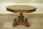CARVED OAK OCTAGONAL LIBRARY T