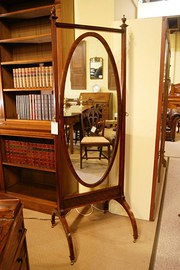 MAHOGANY  INLAID CHEVAL MIRROR