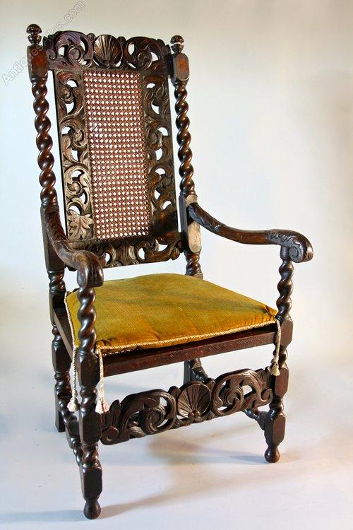 17th Century Caned Walnut Armchair. U532