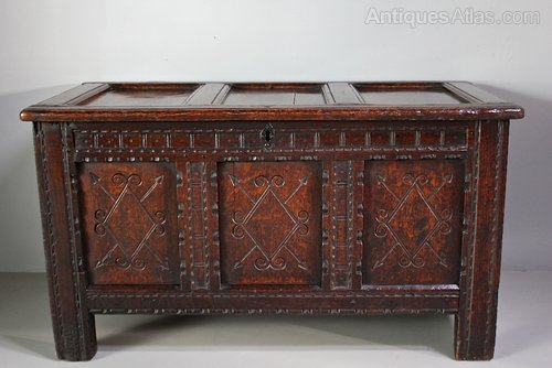 17th Century Carved Oak Coffer. U246