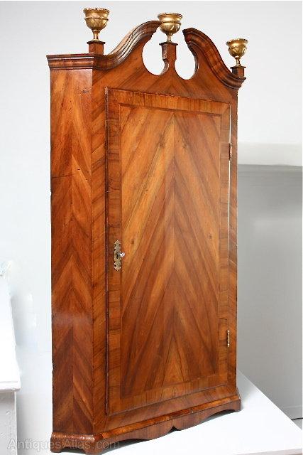 18th Century Walnut Veneered Corner Cupboard