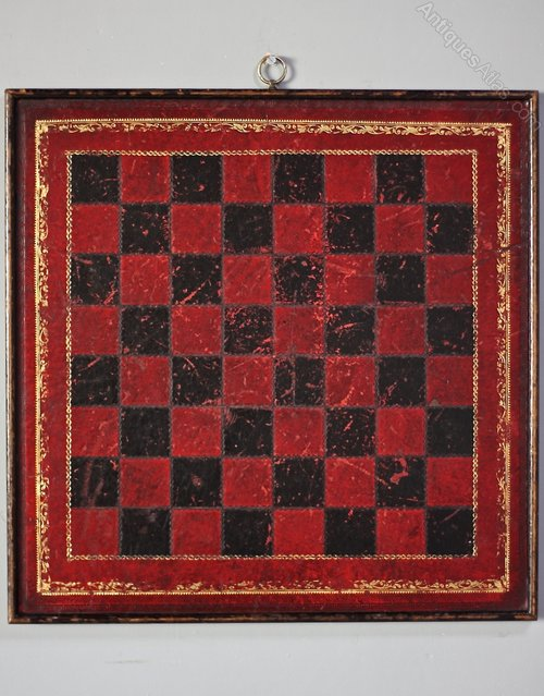 1930s Wood and Leather Chess Board. U938