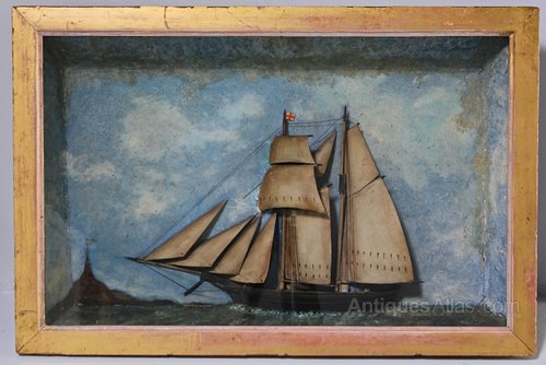 19th Century Half Ship Diorama. T733